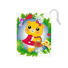 Bear Strawberries Drawstring Pouches (medium)