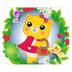 Bear Strawberries Double Sided Flano Blanket (small)
