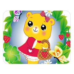 Bear Strawberries Double Sided Flano Blanket (large)