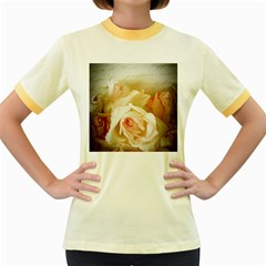 Roses Vintage Playful Romantic Women s Fitted Ringer T Shirts