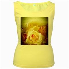 Roses Vintage Playful Romantic Women s Yellow Tank Top