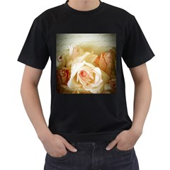 Roses Vintage Playful Romantic Men s T Shirt (black) (two Sided)