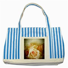 Roses Vintage Playful Romantic Striped Blue Tote Bag