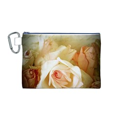 Roses Vintage Playful Romantic Canvas Cosmetic Bag (m)