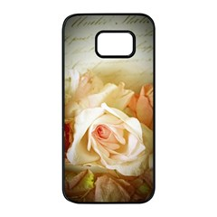Roses Vintage Playful Romantic Samsung Galaxy S7 Edge Black Seamless Case