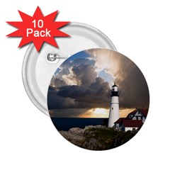 Lighthouse Beacon Light House 2 25  Buttons (10 Pack)