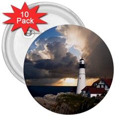 Lighthouse Beacon Light House 3  Buttons (10 Pack)