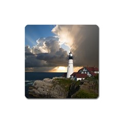 Lighthouse Beacon Light House Square Magnet