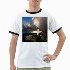 Lighthouse Beacon Light House Ringer T Shirts