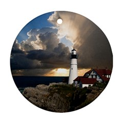 Lighthouse Beacon Light House Round Ornament (two Sides)