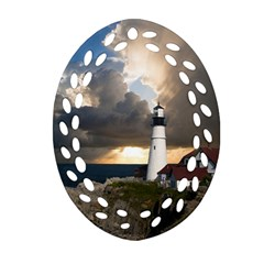 Lighthouse Beacon Light House Ornament (oval Filigree)