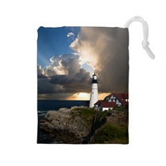 Lighthouse Beacon Light House Drawstring Pouches (large)