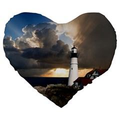Lighthouse Beacon Light House Large 19  Premium Flano Heart Shape Cushions