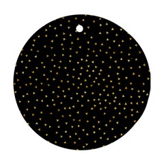 Grunge Pattern Black Triangles Round Ornament (two Sides)