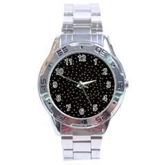 Grunge Pattern Black Triangles Stainless Steel Analogue Watch