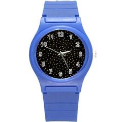 Grunge Pattern Black Triangles Round Plastic Sport Watch (s)