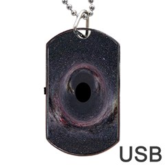 Black Hole Blue Space Galaxy Star Dog Tag Usb Flash (one Side)
