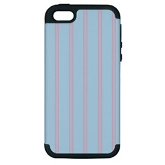 Bleu Pink Line Vertical Apple Iphone 5 Hardshell Case (pc+silicone)