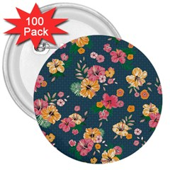Aloha Hawaii Flower Floral Sexy 3  Buttons (100 Pack)