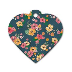 Aloha Hawaii Flower Floral Sexy Dog Tag Heart (two Sides)