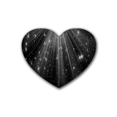 Black Rays Light Stars Space Heart Coaster (4 Pack)