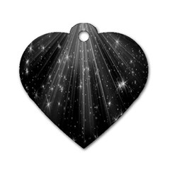 Black Rays Light Stars Space Dog Tag Heart (two Sides)