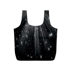 Black Rays Light Stars Space Full Print Recycle Bags (s)