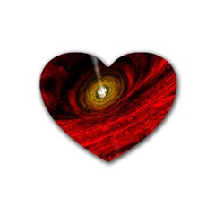 Black Red Space Hole Rubber Coaster (heart)