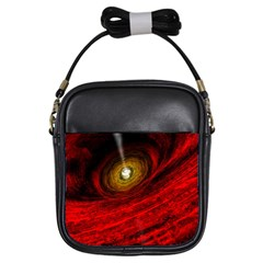 Black Red Space Hole Girls Sling Bags