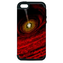 Black Red Space Hole Apple Iphone 5 Hardshell Case (pc+silicone)