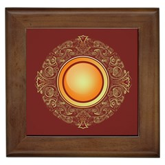 Badge Gilding Sun Red Oriental Framed Tiles