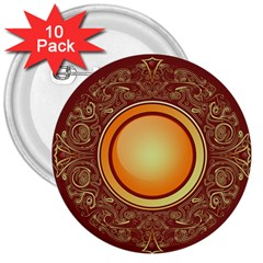 Badge Gilding Sun Red Oriental 3  Buttons (10 Pack)