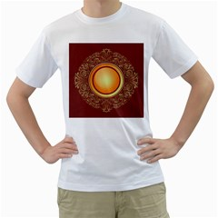 Badge Gilding Sun Red Oriental Men s T Shirt (white) (two Sided)
