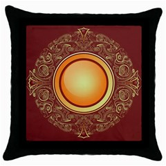 Badge Gilding Sun Red Oriental Throw Pillow Case (black)