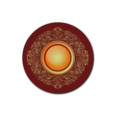 Badge Gilding Sun Red Oriental Rubber Round Coaster (4 Pack)