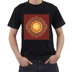 Badge Gilding Sun Red Oriental Men s T Shirt (black) (two Sided)