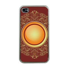 Badge Gilding Sun Red Oriental Apple Iphone 4 Case (clear)