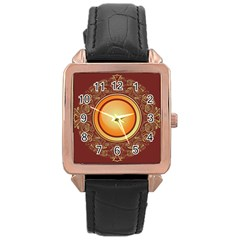 Badge Gilding Sun Red Oriental Rose Gold Leather Watch