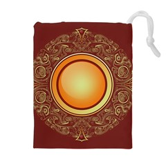 Badge Gilding Sun Red Oriental Drawstring Pouches (extra Large)