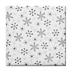 Black Holiday Snowflakes Tile Coasters