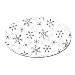 Black Holiday Snowflakes Oval Magnet