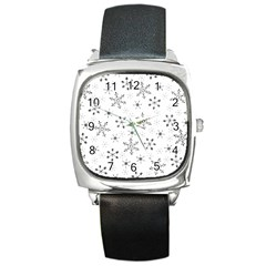 Black Holiday Snowflakes Square Metal Watch