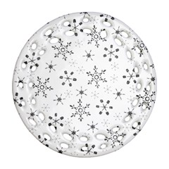 Black Holiday Snowflakes Round Filigree Ornament (two Sides)