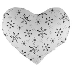 Black Holiday Snowflakes Large 19  Premium Heart Shape Cushions