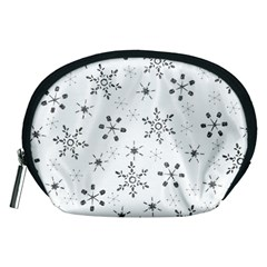 Black Holiday Snowflakes Accessory Pouches (medium)
