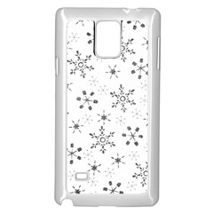 Black Holiday Snowflakes Samsung Galaxy Note 4 Case (white)