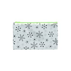 Black Holiday Snowflakes Cosmetic Bag (xs)