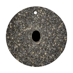 Black Hole Blue Space Galaxy Star Light Round Ornament (two Sides)