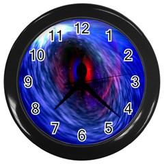 Blue Red Eye Space Hole Galaxy Wall Clocks (black)