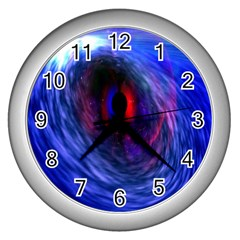 Blue Red Eye Space Hole Galaxy Wall Clocks (silver)